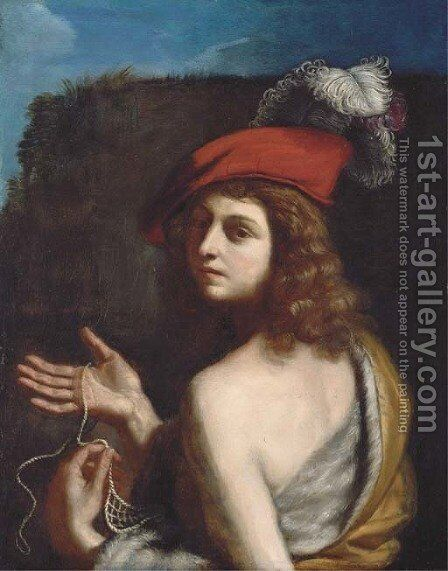 David holding a sling by Giovanni Francesco Guercino (BARBIERI) - Reproduction Oil Painting