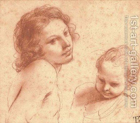 Heads of a youth and a young boy by Giovanni Francesco Guercino (BARBIERI) - Reproduction Oil Painting