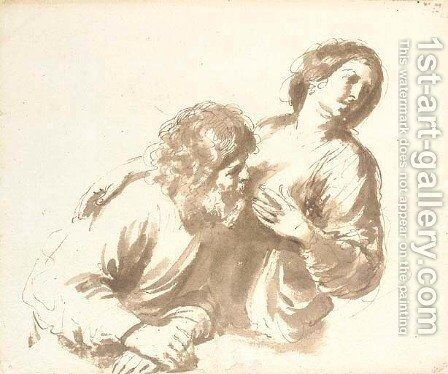 Roman Charity Cimon and Pero by Giovanni Francesco Guercino (BARBIERI) - Reproduction Oil Painting