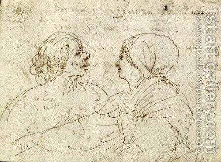 Study Of Two Women Conversing, Half-Length by Giovanni Francesco Guercino (BARBIERI) - Reproduction Oil Painting