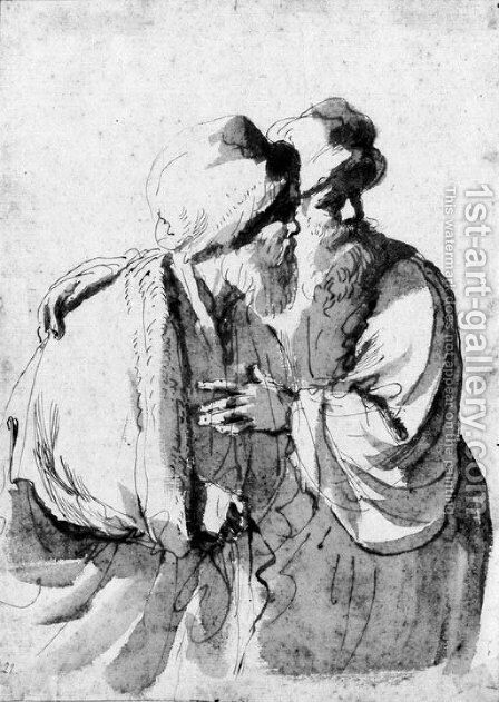 Two bearded orientals looking to the right for a Susanna and the Elders by Giovanni Francesco Guercino (BARBIERI) - Reproduction Oil Painting