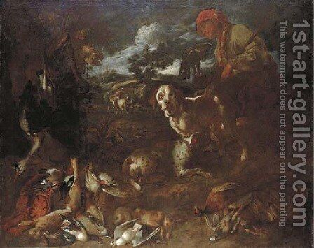 A wooded landscape with a falconer and two dogs with dead game, a huntsman beyond by Giovanni Francesco Castiglione - Reproduction Oil Painting