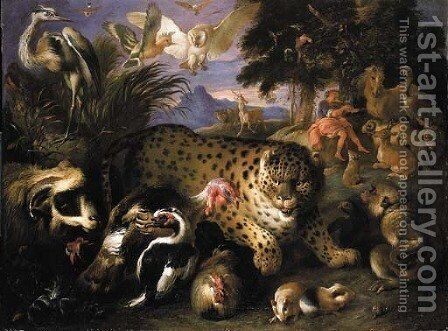 Orpheus charming the animals 2 by Giovanni Francesco Castiglione - Reproduction Oil Painting