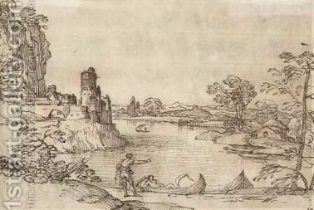 A landscape with boatmen by a lake and a village seen beyond by Giovanni Francesco Grimaldi - Reproduction Oil Painting