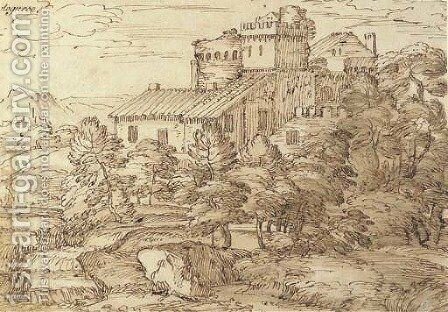An extensive wooded landscape with fortified farm buildings by Giovanni Francesco Grimaldi - Reproduction Oil Painting
