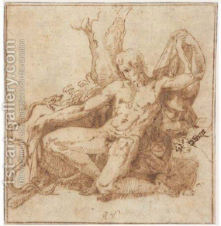 Hercules kneeling before a snake by Giovanni Francesco Penni - Reproduction Oil Painting