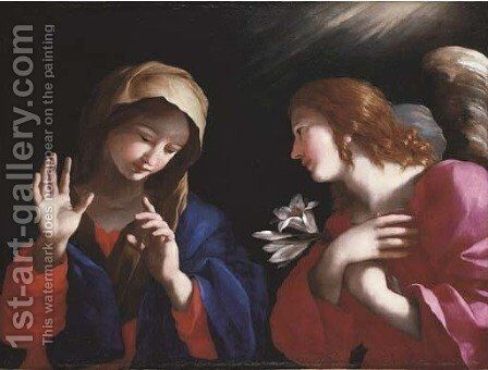 The Annunciation by Giovanni Francesco Romanelli - Reproduction Oil Painting