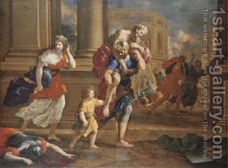 The Flight of Aeneas and his Family from the Sack of Troy by Giovanni Francesco Romanelli - Reproduction Oil Painting