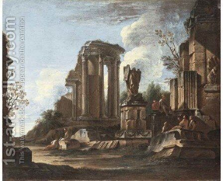 A capriccio with the Temple of the Sibyl at Tivoli and classical ruins by Giovanni Ghisolfi - Reproduction Oil Painting