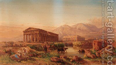 Temples at Paestum by Giovanni Lanza - Reproduction Oil Painting