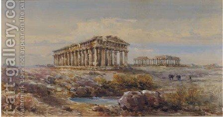 The Temples at Paestum, Italy by Giovanni Lanza - Reproduction Oil Painting