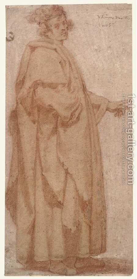 A figure in a long cloak pointing to the left by Masaccio (Tommaso di Giovanni) - Reproduction Oil Painting