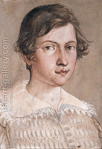 Portrait of a young man in a light brown jacket and lace collar by Giovanni Giovanni da San (Mannozzi) - Reproduction Oil Painting