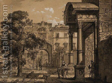 A capriccio view of a city in the Veneto Design for the stage by Giovanni Migliara - Reproduction Oil Painting