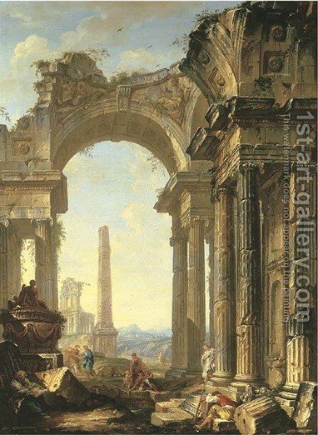 A capriccio of a ruined ionic temple and an obelisk with figures by Giovanni Niccolo Servandoni - Reproduction Oil Painting