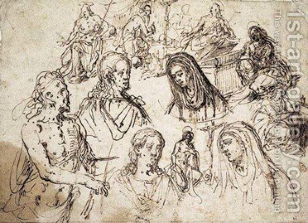Studies for the Mocking of Christ, the Baptist, the Magdalene, Saint Jerome and heads of Christ and the Virgin by Giovanni Paolo Luini - Reproduction Oil Painting