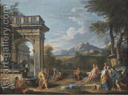 A classical landscape with the Judgement of Midas by Giovanni Paolo Panini - Reproduction Oil Painting