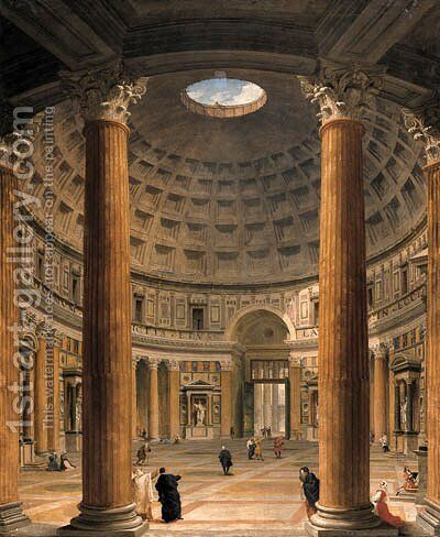 The interior of the Pantheon, Rome, looking north from the main altar towards the entrance, the Piazza della Rotonda beyond by Giovanni Paolo Panini - Reproduction Oil Painting
