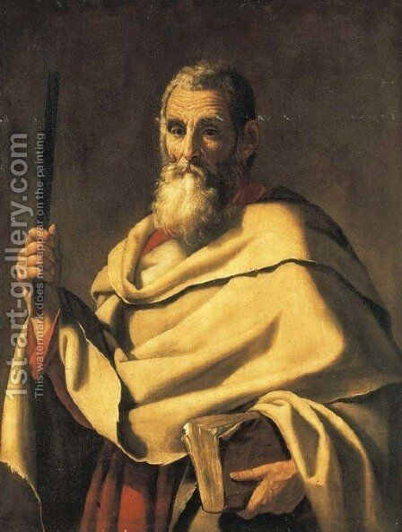 A male saint holding a book by Giovanni Ricca - Reproduction Oil Painting