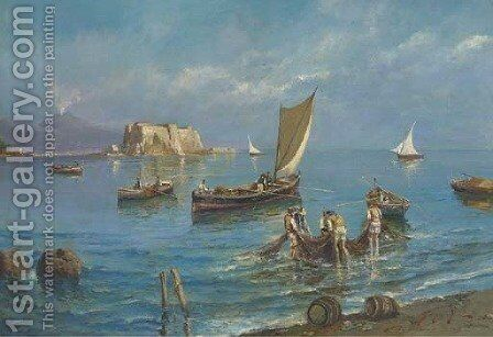 Fishing in the shadow of Vesuvius by Giovanni Scognamiglio - Reproduction Oil Painting