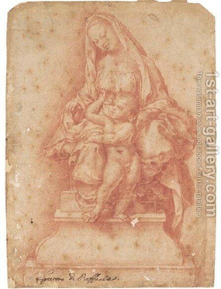 The Madonna and Child seated on a throne by Girolamo Genga - Reproduction Oil Painting