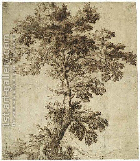 A Tree On An Outcrop by Girolamo Muziano - Reproduction Oil Painting