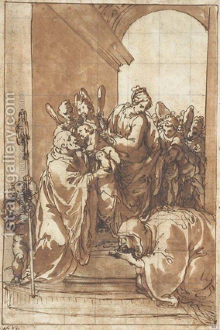The Madonna and Child with angels by Giulio Benso - Reproduction Oil Painting