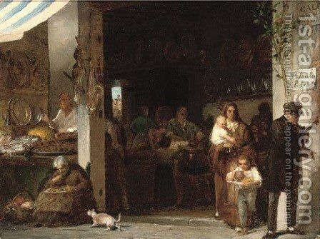 A bustling trattoria by Giulio Carlini - Reproduction Oil Painting