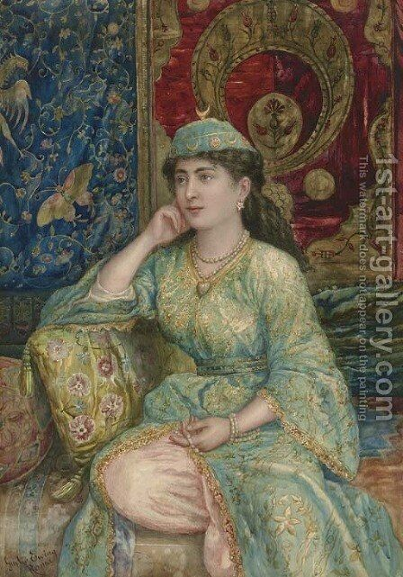A Turkish Beauty by Giulio Ewing - Reproduction Oil Painting