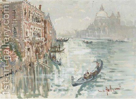 The Grand Canal, Venice by Giulio Falzoni - Reproduction Oil Painting
