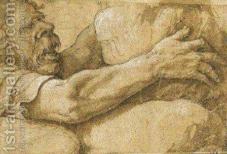 A giant clutching a rock by Giulio Romano (Orbetto) - Reproduction Oil Painting