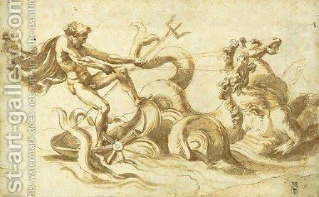 Neptune in his chariot drawn by hippocamps by Giulio Romano (Orbetto) - Reproduction Oil Painting