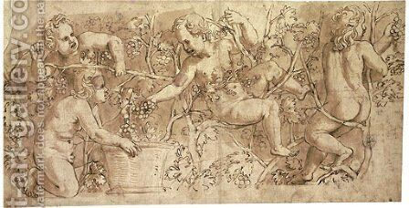 Putti picking grapes Design for a frieze by Giulio Romano (Orbetto) - Reproduction Oil Painting