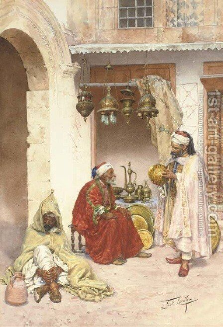Haggling in the souk by Giulio Rosati - Reproduction Oil Painting