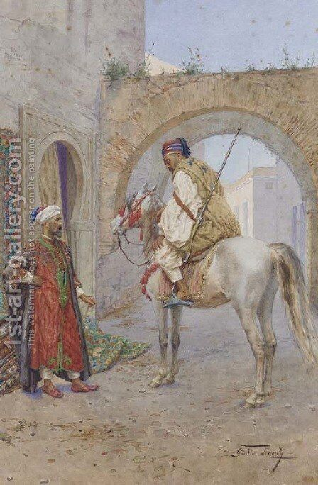 The Carpet Seller and Horseman by Giulio Rosati - Reproduction Oil Painting