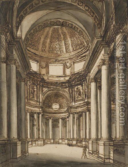 The interior of a church with a coffered dome by Giuseppe Barberi - Reproduction Oil Painting