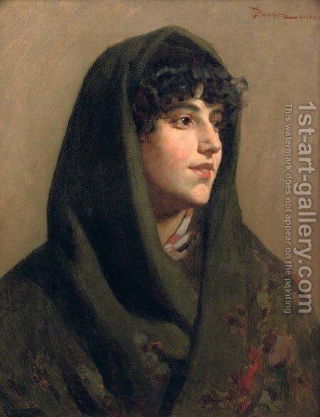 The green shawl by Giuseppe Barison - Reproduction Oil Painting