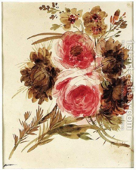 A bouquet of roses and peonies by Giuseppe Bernardino Bison - Reproduction Oil Painting