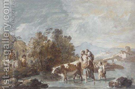 A family crossing a stream with a cow by Giuseppe Bernardino Bison - Reproduction Oil Painting