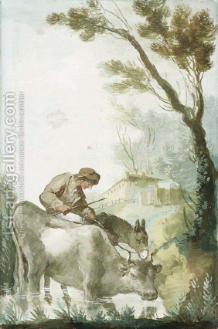 A Shepherd crossing a Ford with a Cow and a Donkey by Giuseppe Bernardino Bison - Reproduction Oil Painting