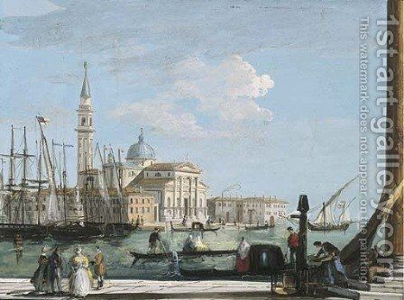 A view of San Giorgio Maggiore, Venice, with a British ship entering the Bacino di San Marco by Giuseppe Bernardino Bison - Reproduction Oil Painting