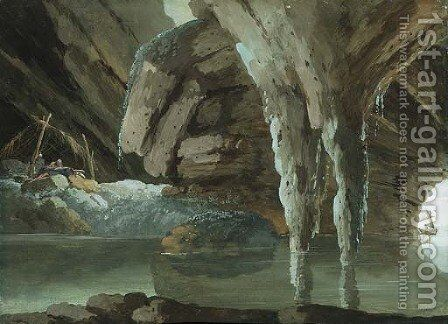An Hermit Saint writing in a Grotto by the Sea, boats in the background by Giuseppe Bernardino Bison - Reproduction Oil Painting