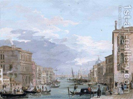 The Grand Canal, Venice, looking east from the Campo di San Vio, with the Palazzo Corner, barges and gondolas, the dome of Santa Maria della Salute by Giuseppe Bernardino Bison - Reproduction Oil Painting
