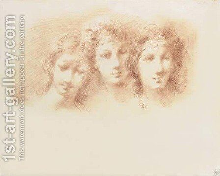 Three female heads, perhaps for the Three Graces by Giuseppe Bernardino Bison - Reproduction Oil Painting