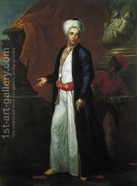Portrait of a gentleman, full-length, in Ottoman robes, a page beside him, on a terrace before a Solomonic column by Giuseppe Bonito - Reproduction Oil Painting