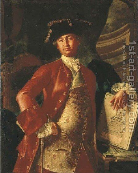 Portrait of a gentleman, three-quarter-length, in a red coat and embroidered waistcoat, holding a project for a monument by Giuseppe Bonito - Reproduction Oil Painting