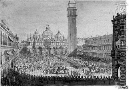 A View of Piazza San Marco with the Ceremony for the Return of the Bronze Horses to the Venetian State on 13 December 1815 by Giuseppe Borsato - Reproduction Oil Painting