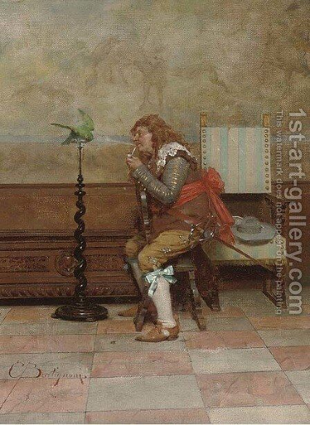 An unwilling smoker by Giuseppe Bortignoni - Reproduction Oil Painting