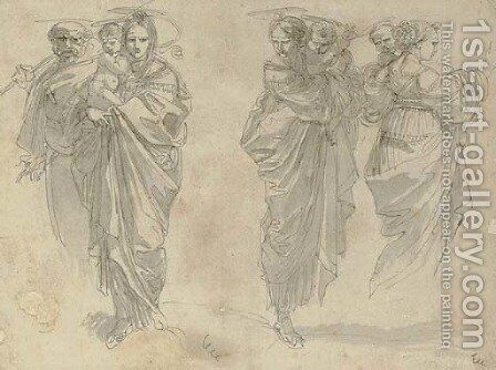 Three studies of the Holy Family by Giuseppe Cades - Reproduction Oil Painting