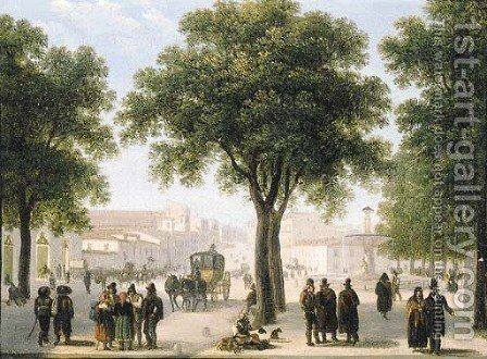 A view of Calle Atocha, Madrid by Guiseppe Canella - Reproduction Oil Painting